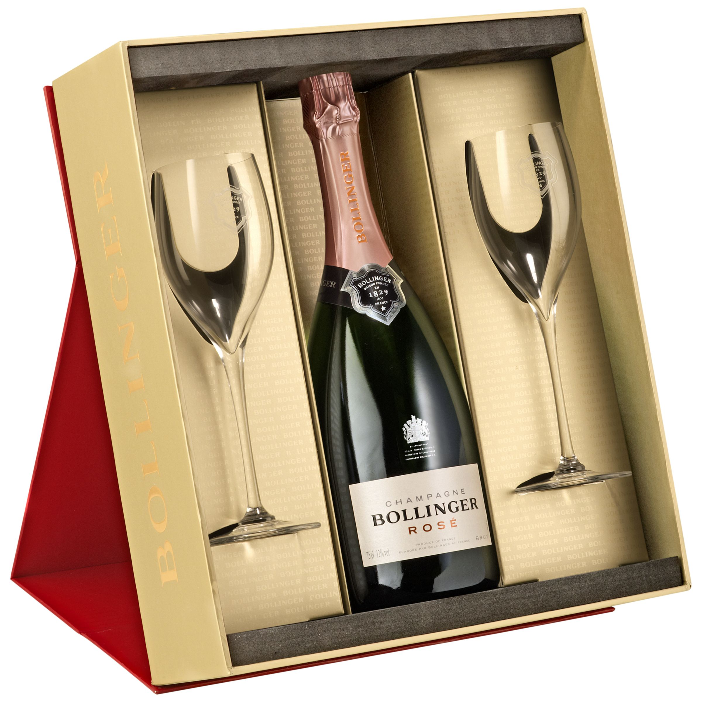 Bollinger Bollinger Rosé Champagne and 2 Flutes Set, 75cl
