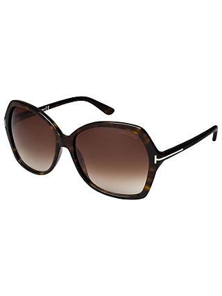 TOM FORD FT0328 Carola Squared Sunglasses, Havana