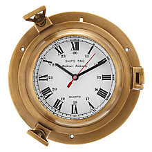 Buy John Lewis Brass Porthole Clock Online at johnlewis.com