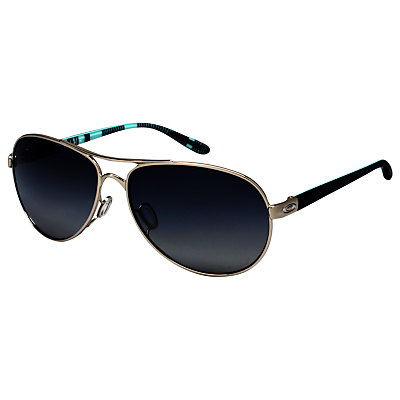 Oakley OO4079 Feedback Polarised Aviator Sunglasses, Polished Chrome