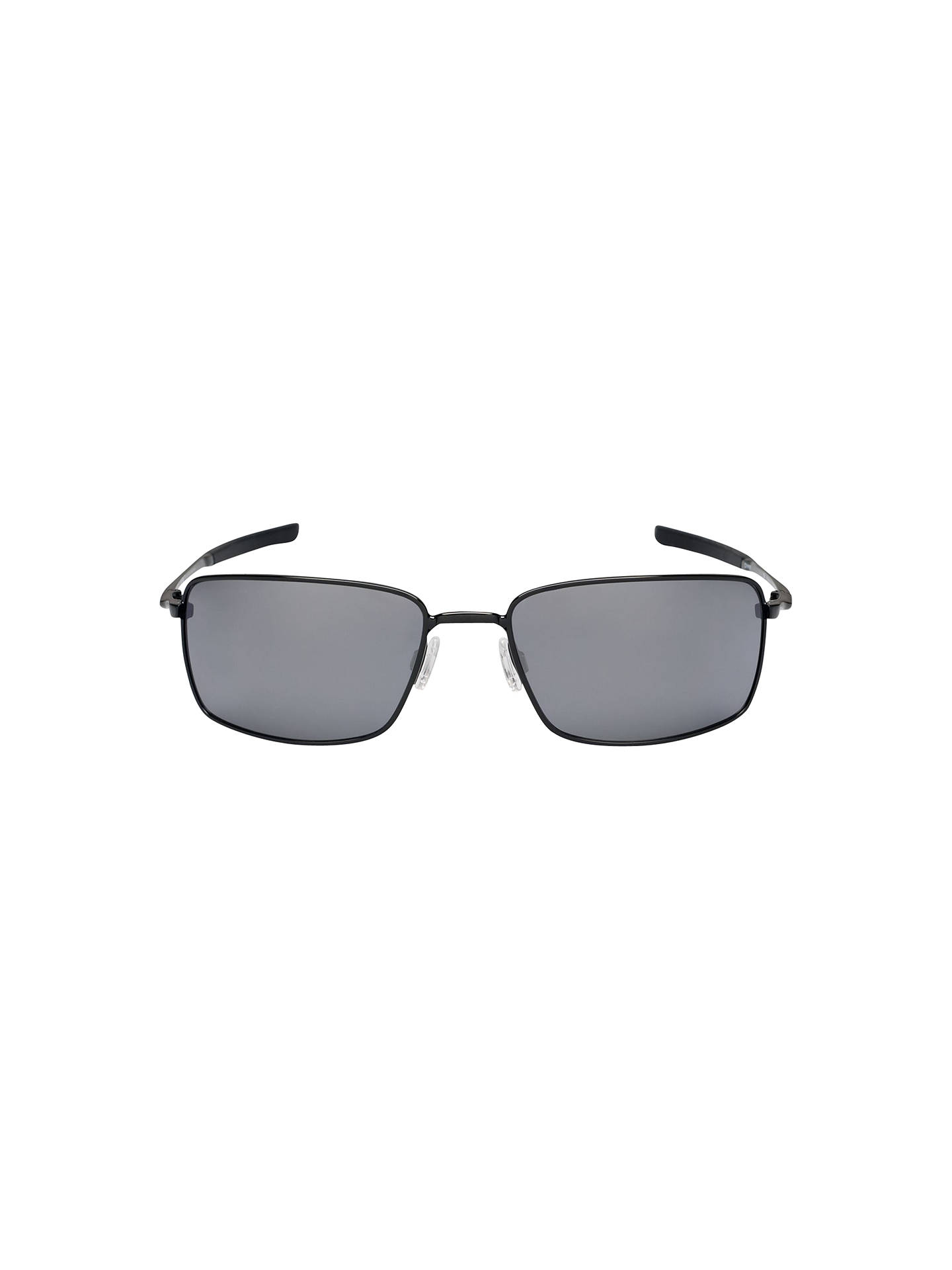 BuyOakley OO4075 Square Wire™ Rectangular Frame Sunglasses, Polished Black/Black Iridium Online at johnlewis.com