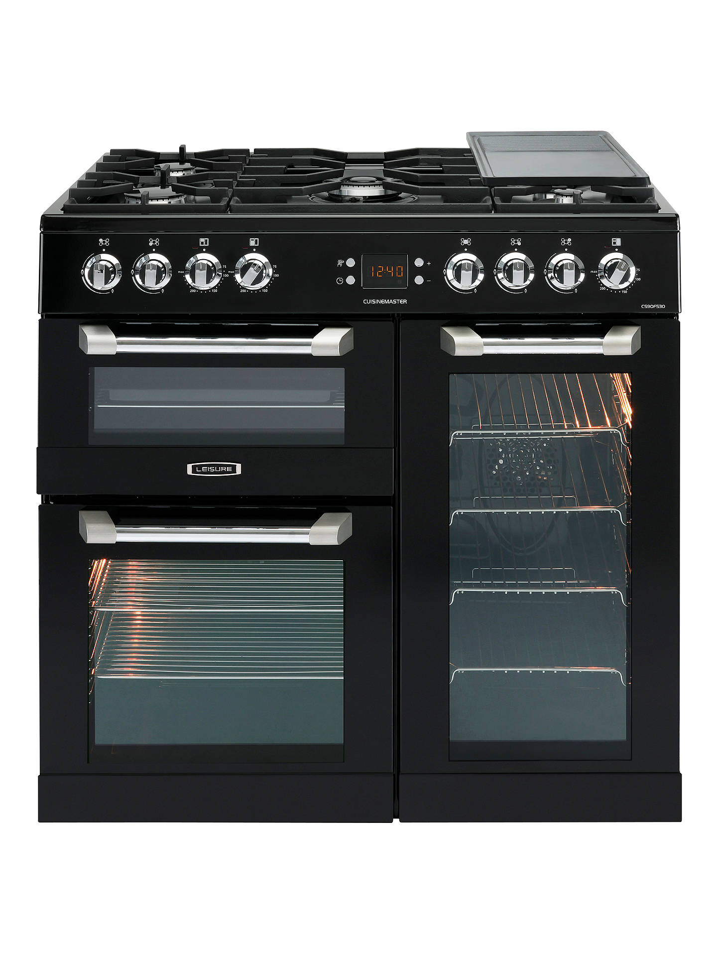 Buy Leisure CS90F530K Cuisinemaster Dual Fuel Range Cooker, Black Online at johnlewis.com