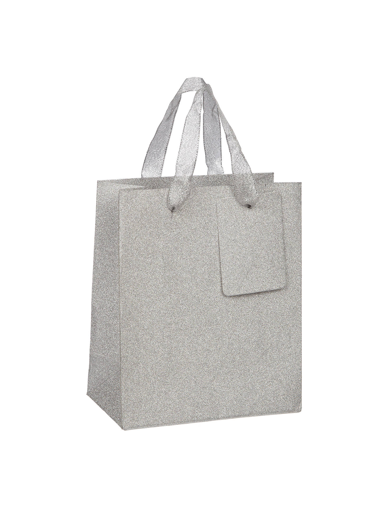 BuyJohn Lewis & Partners Encapsulated Silver Glitter Gift Bag, Mini Online at johnlewis.com