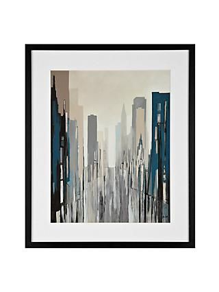 Gregory Lang - Metropolitan View Blue Framed Print, 59 x 49cm
