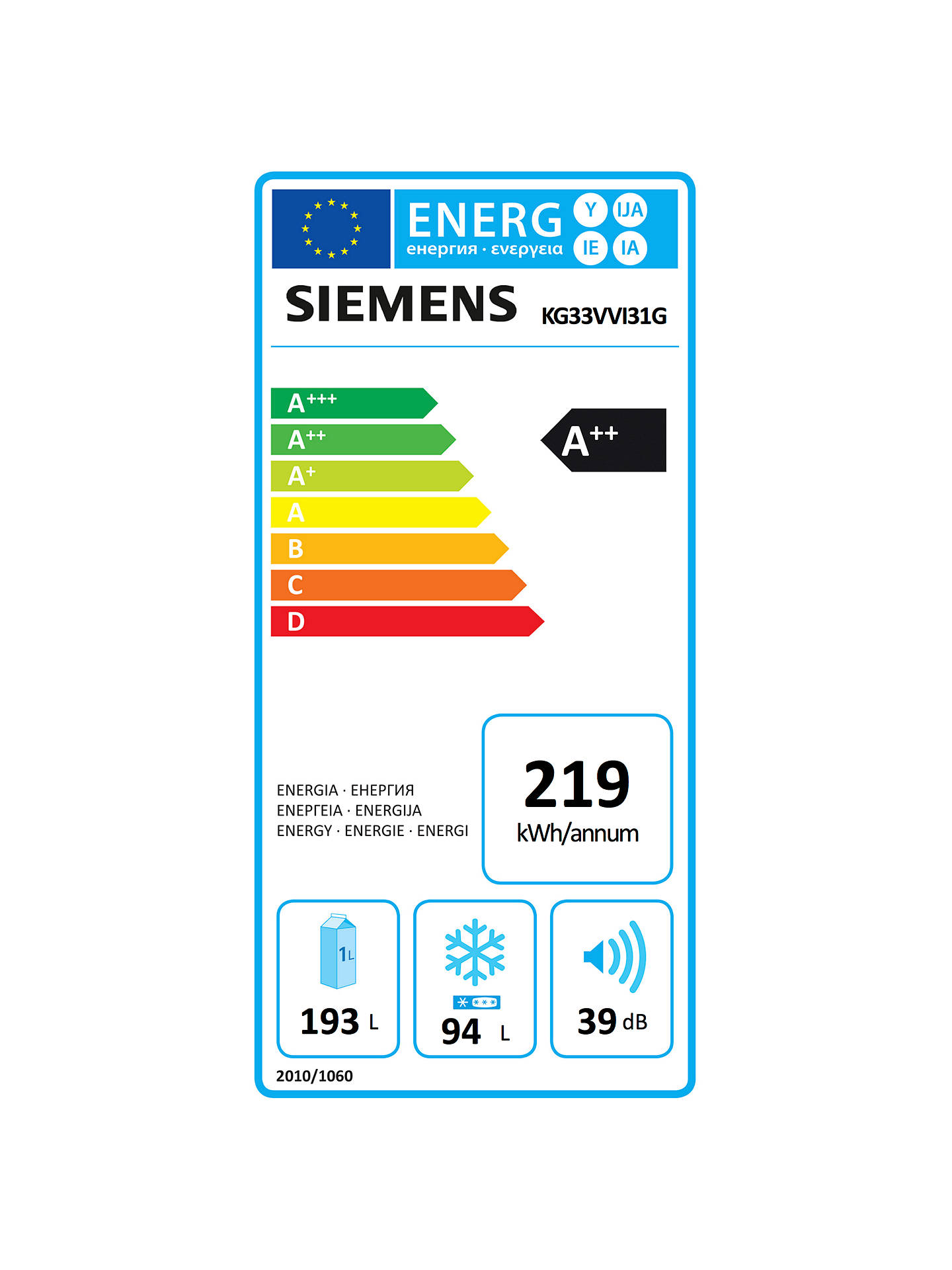BuySiemens KG33VVI31G Fridge Freezer, A++ Energy Rating, 60cm Wide, Stainless Steel Online at johnlewis.com