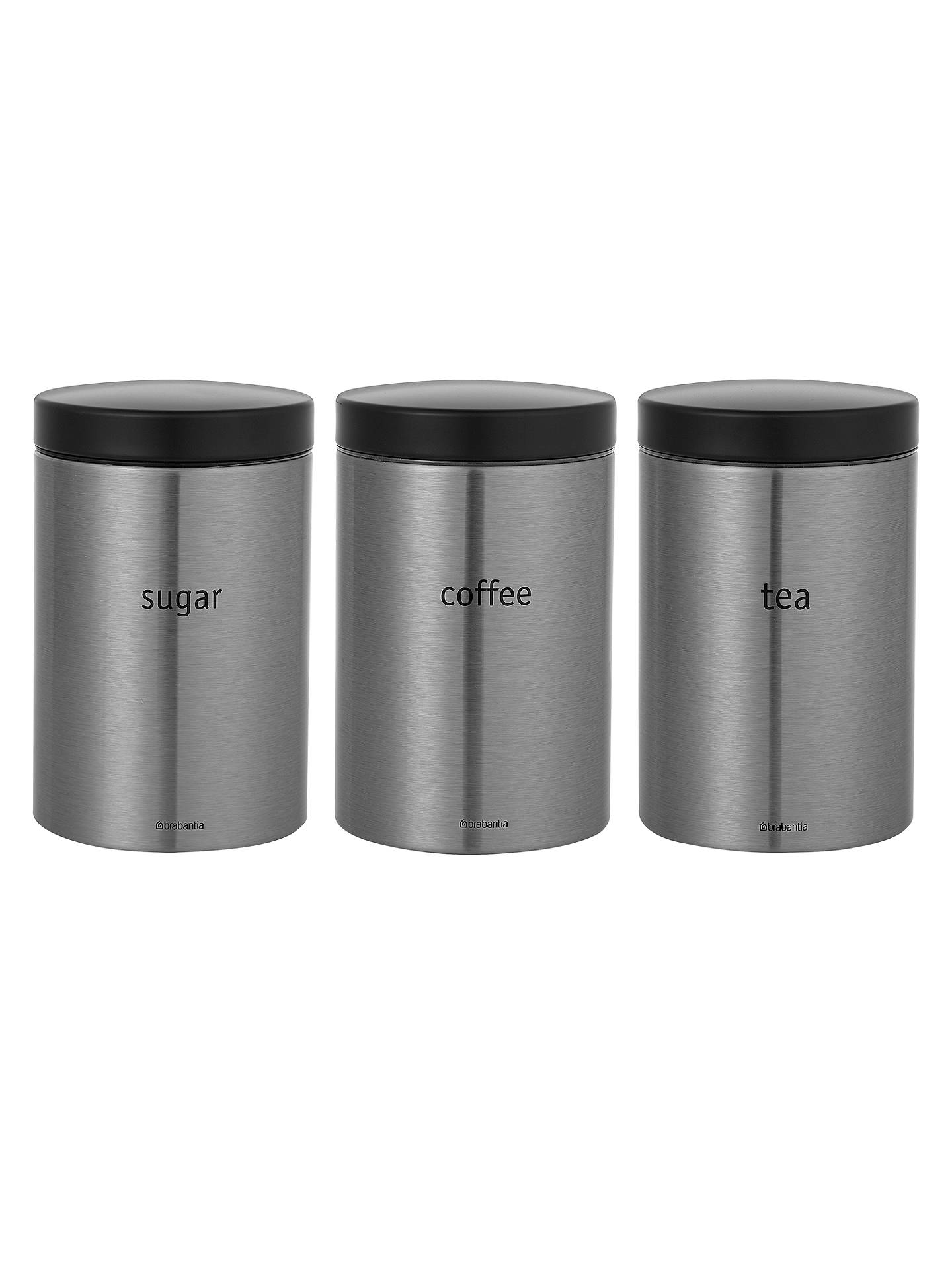Buybrabantia tea coffee and sugar canisters matt stainless steel online at johnlewis com