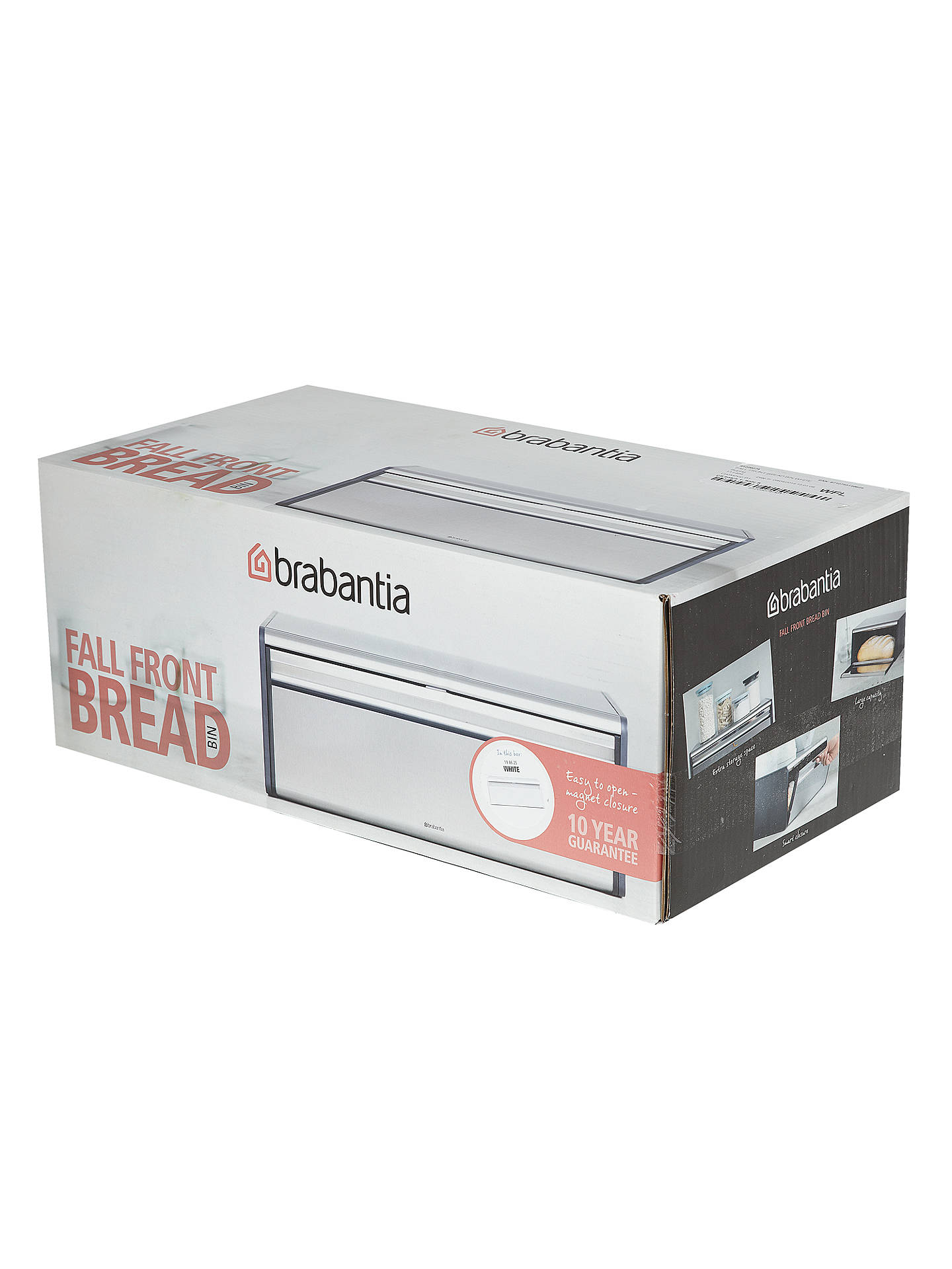 Buy Brabantia Fall Front Bread Bin, White Online at johnlewis.com