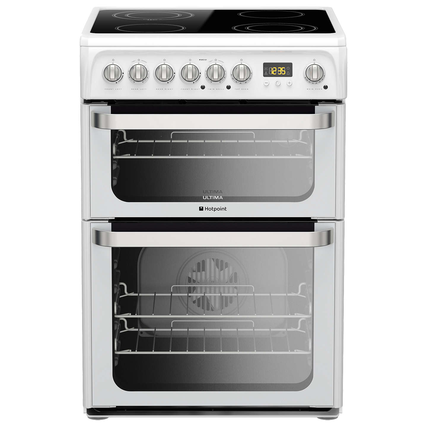 hotpoint hue61ps electric cooker white at john lewis. Black Bedroom Furniture Sets. Home Design Ideas