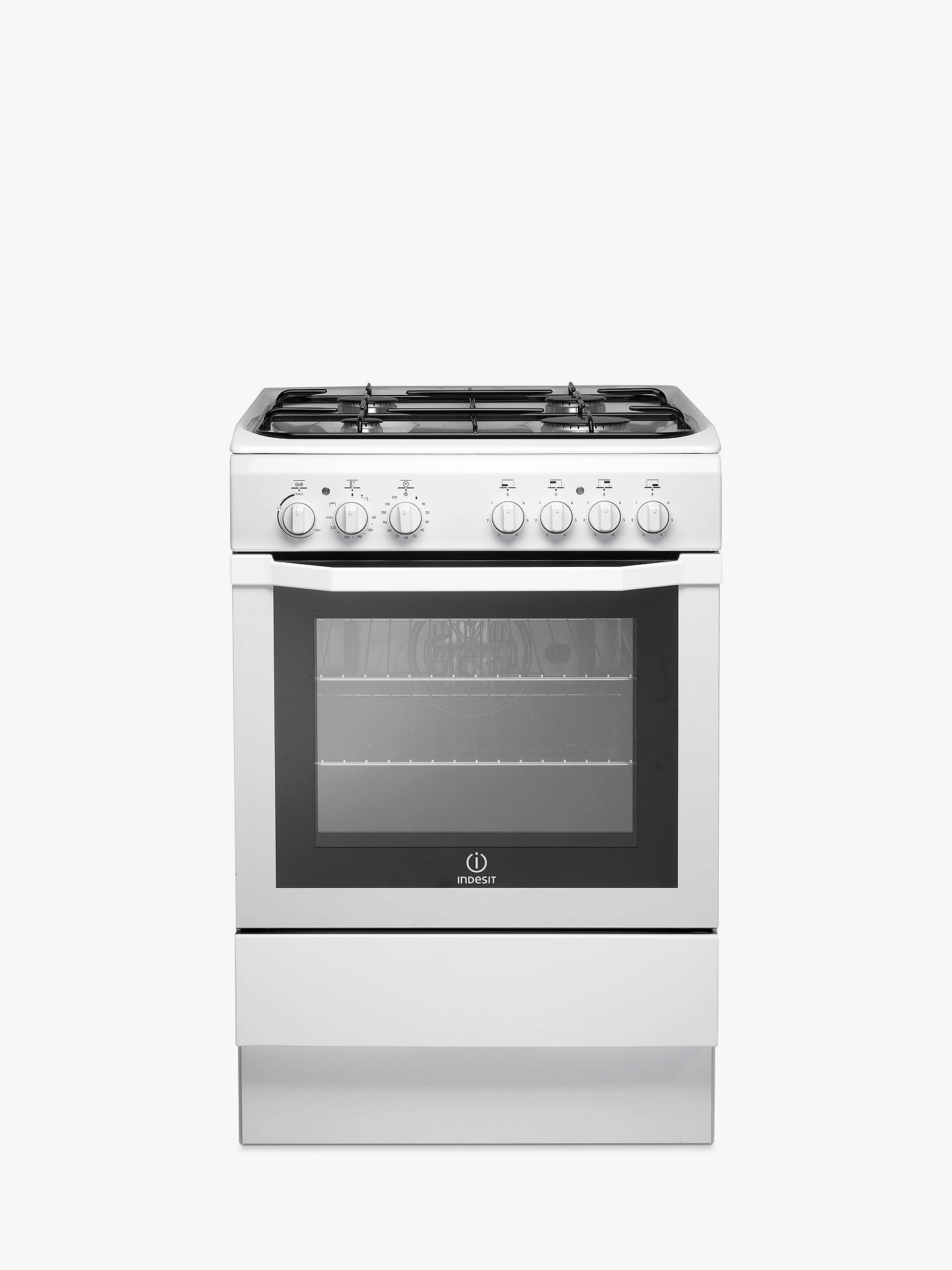 indesit i6gg1w gas cooker white at john lewis partners. Black Bedroom Furniture Sets. Home Design Ideas