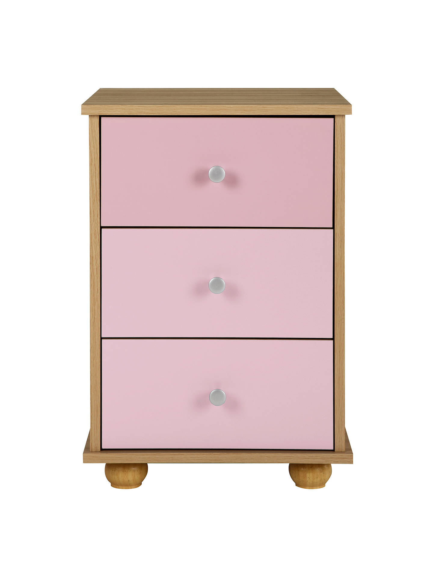 Buy little home at John Lewis Corey 3 Drawer Bedside Cabinet, Pink/Oak Online at johnlewis.com