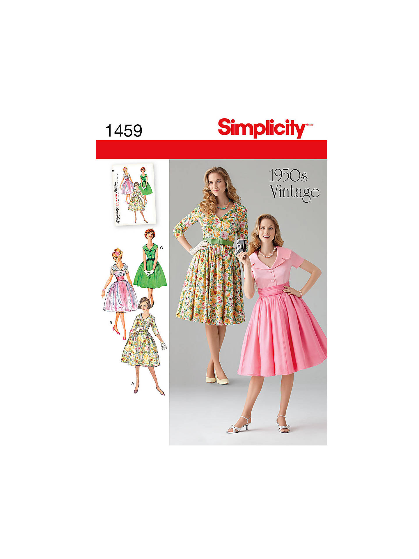 Simplicity 1950s Vintage Dresses Sewing Pattern 1459 At
