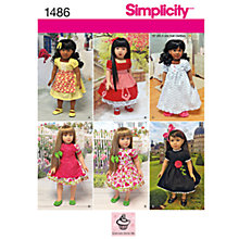 Buy Simplicity Craft Doll Dresses Sewing Pattern, 1486 Online at johnlewis.com