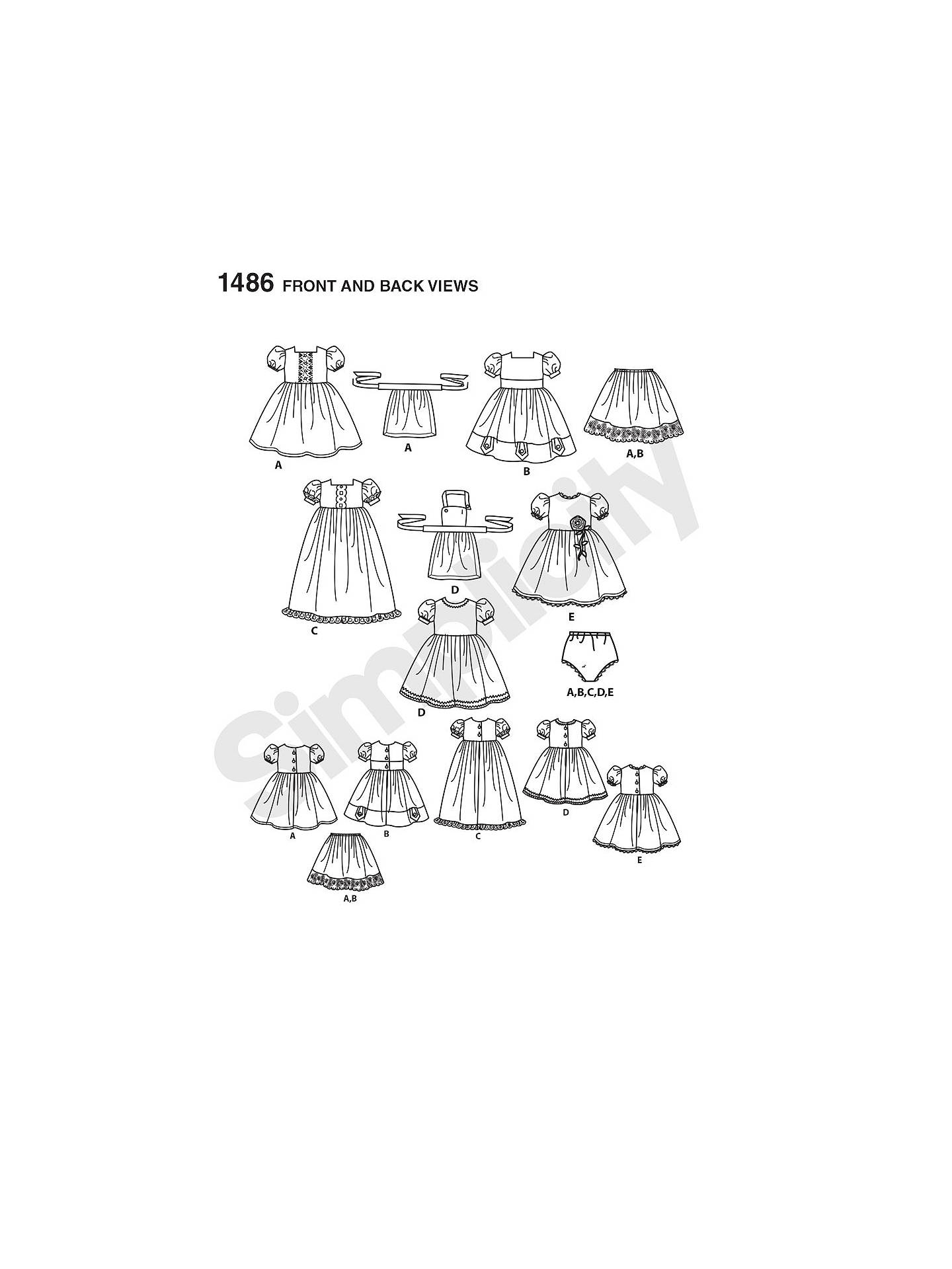 Simplicity Craft Doll Dresses Sewing Pattern, 1486 at John