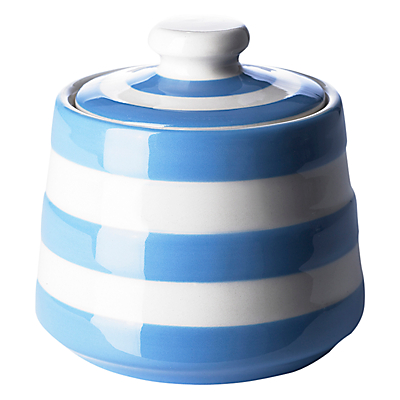 Cornishware Covered Sugar Bowl, Blue/White