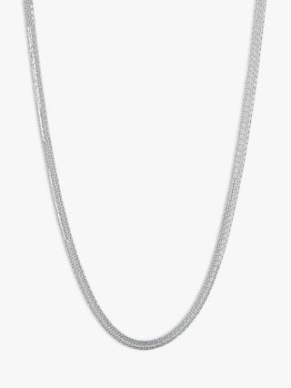 Links of London Essentials Sterling Silver Silk 5 Row Necklace, Silver