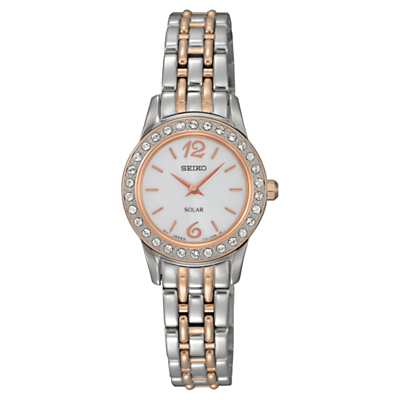 Seiko SUP130P9 Women's Solar Crystal Dial Two Tone Bracelet Strap Watch, Silver/Rose Gold