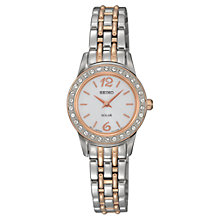Buy Seiko SUP130P9 Women's Solar Crystal Dial Two Tone Bracelet Strap Watch, Silver/Rose Gold Online at johnlewis.com