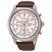 Buy Seiko SPC129P1 Men's Alarm Chronograph Leather Strap Watch, Brown/White Online at johnlewis.com