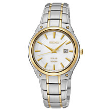 Buy Seiko Women's Solar Sports Bracelet Strap Watch, Silver/Gold Online at johnlewis.com