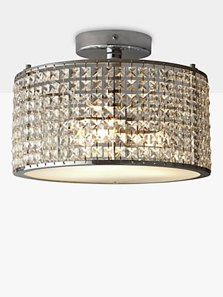 Illuminati Victory Crystal Semi Flush Bathroom Ceiling Light, Clear