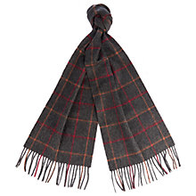 Buy Barbour Tattersall Check Lambswool Scarf, Grey/Red Online at johnlewis.com