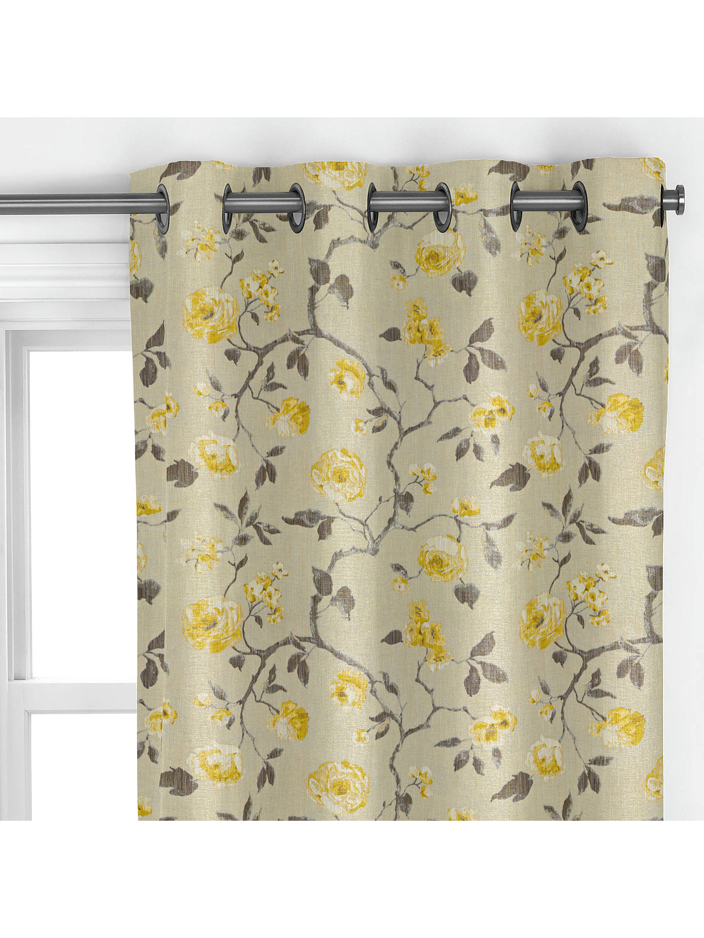BuyJohn Lewis & Partners Linen Rose Curtain, Yellow Online at johnlewis.com