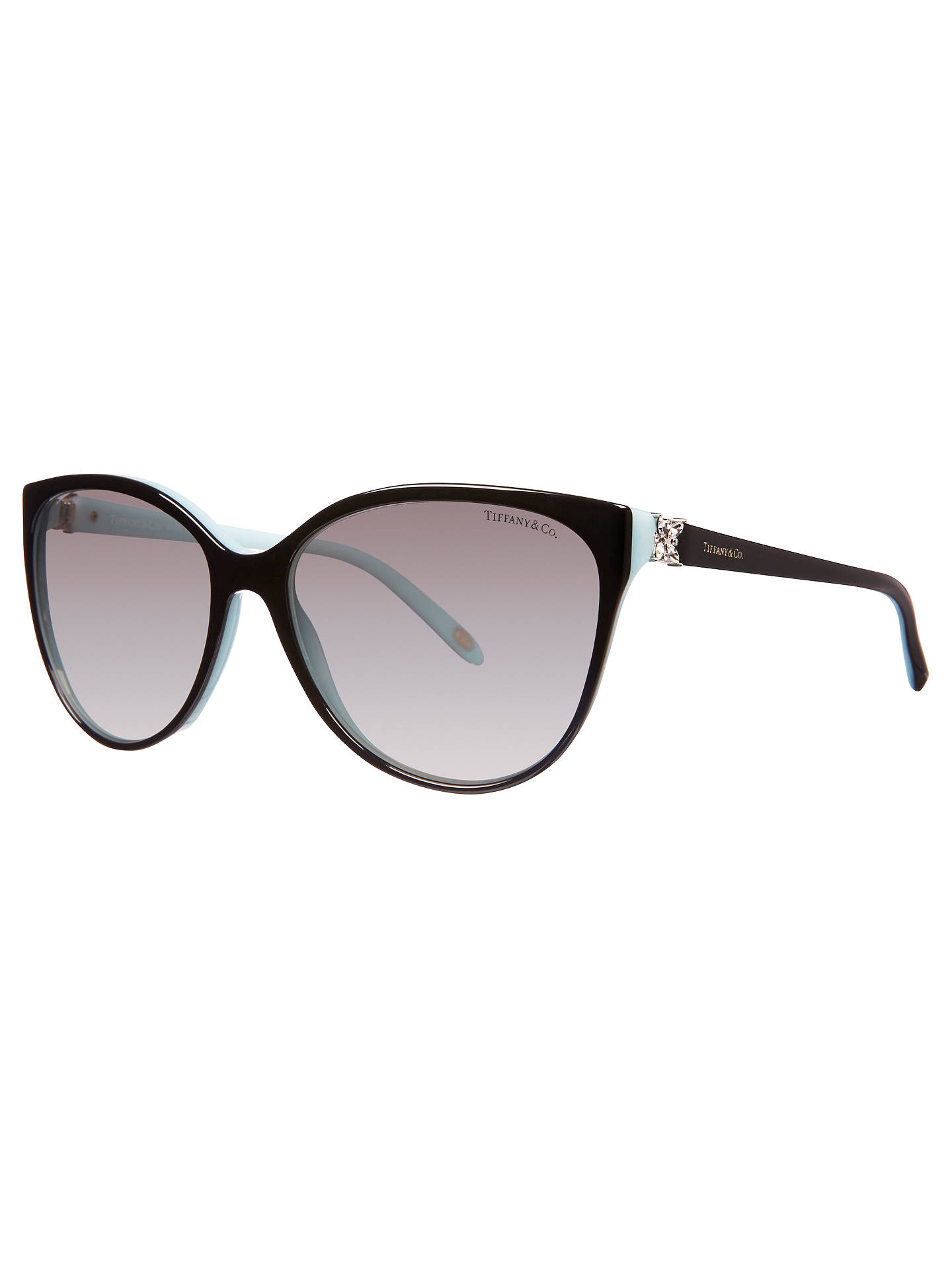 Tiffany & Co TF4089B Cat\'s Eye Frame Sunglasses, Blue/Black at John ...
