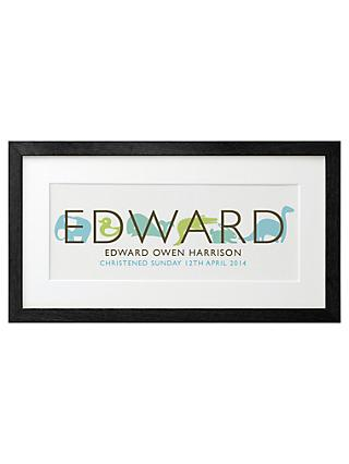 Letterfest Kid's Name Framed Print, Blue/ Green, 21 x 42cm