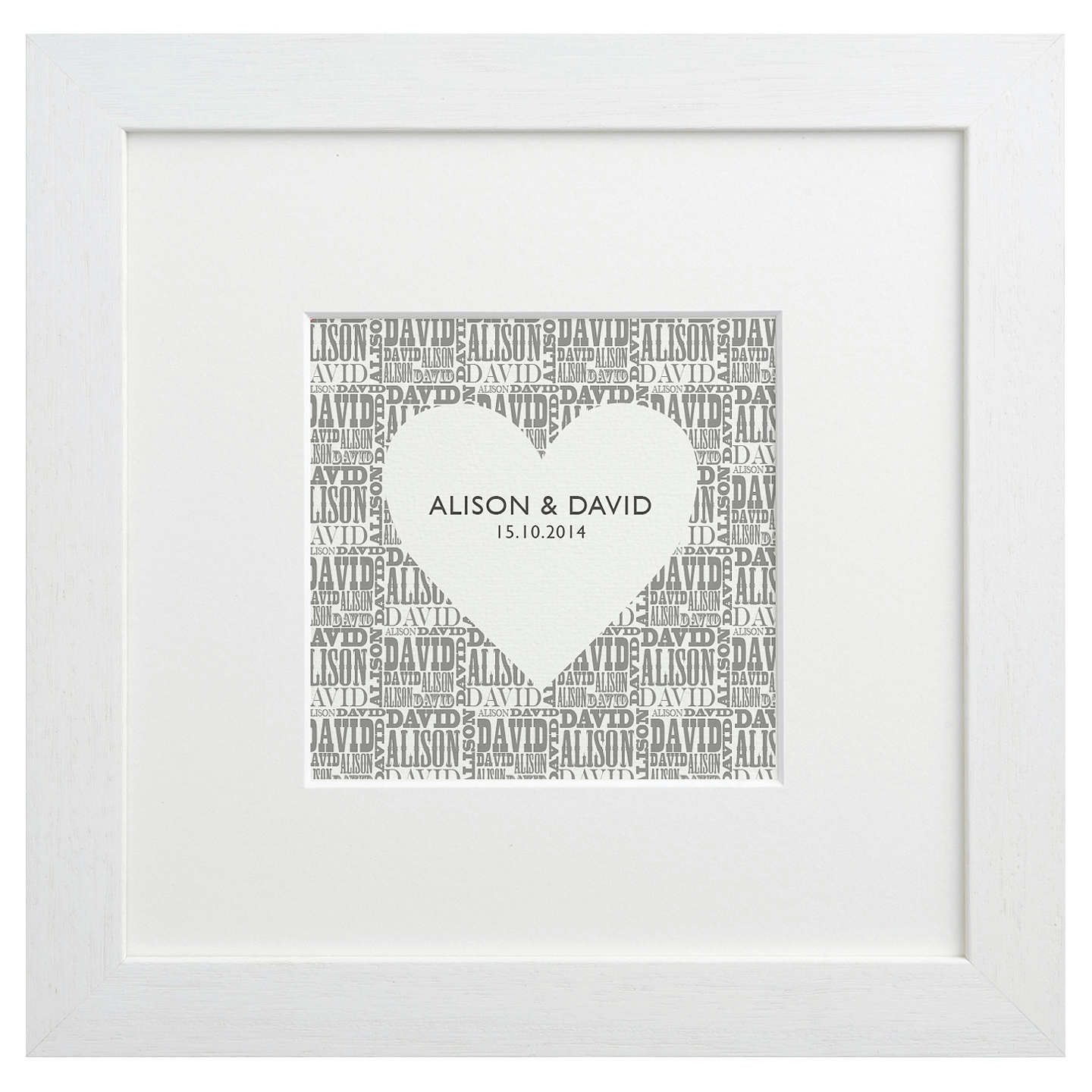 Letterfest Personalised Typographic Heart Framed Print, 25.5 x 25.5 ...