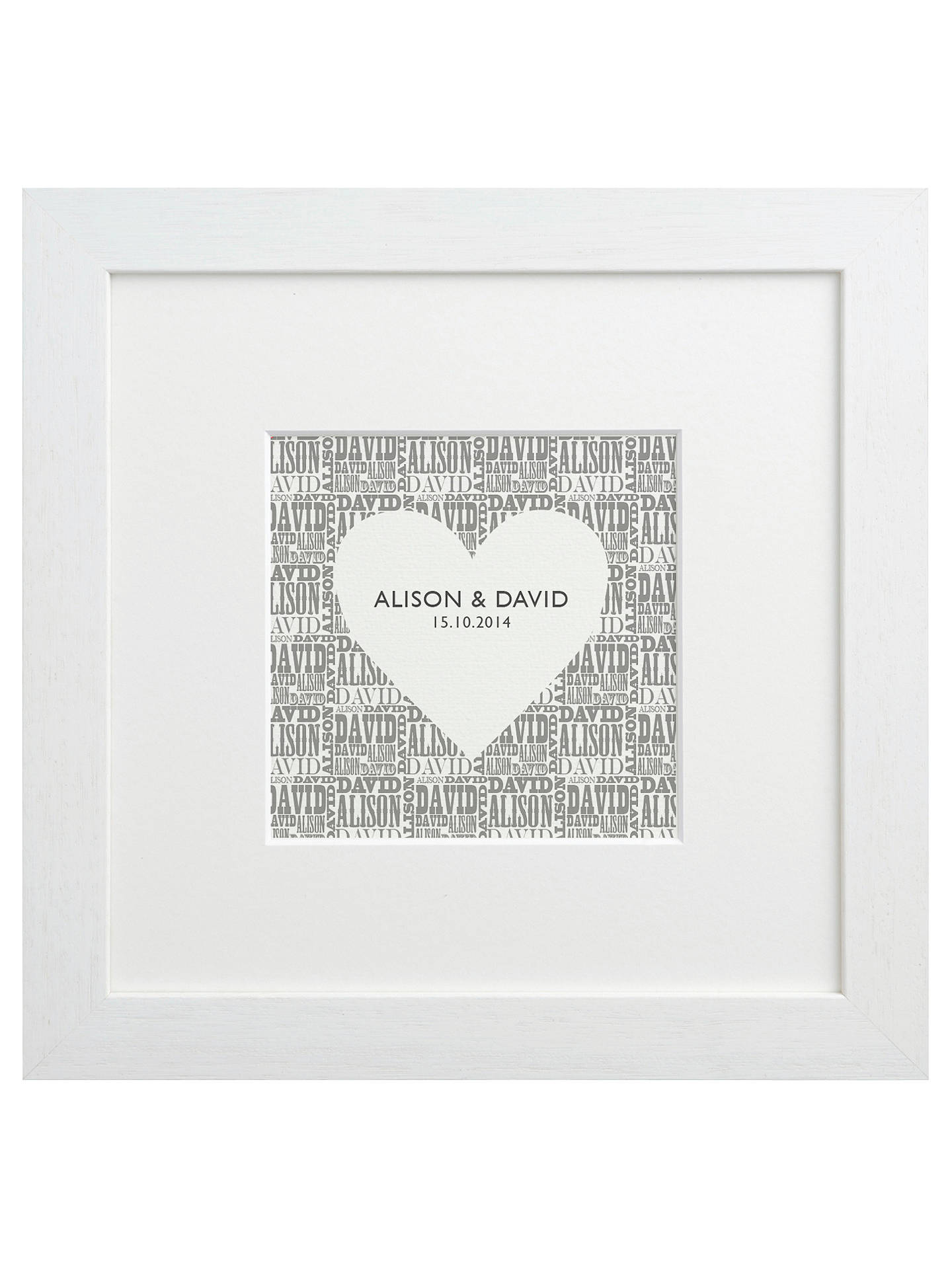 BuyLetterfest Personalised Typographic Heart Framed Print, 25.5 x 25.5cm, White Frame Online at johnlewis.com