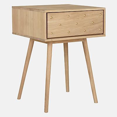 Bethan Gray for John Lewis Genevieve 1 Drawer Bedside Table, Oak