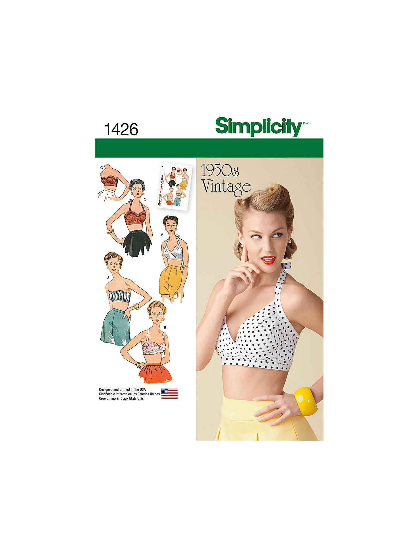 fae974d4081 Buy Simplicity Women's Vintage Bra Top Sewing Pattern, 1426, D5 Online at  johnlewis.