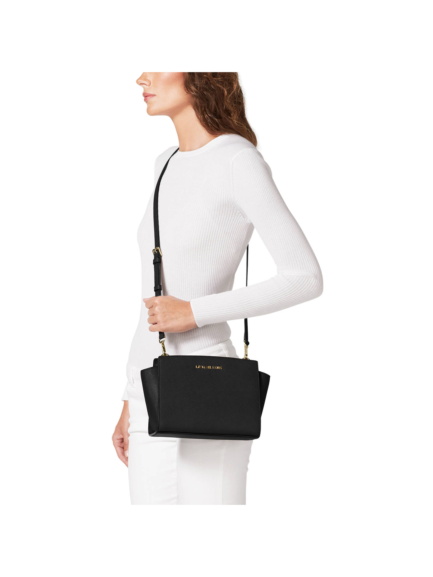 4b518a423eeb ... Buy MICHAEL Michael Kors Selma Mid Leather Messenger Bag, Black Online  at johnlewis.com