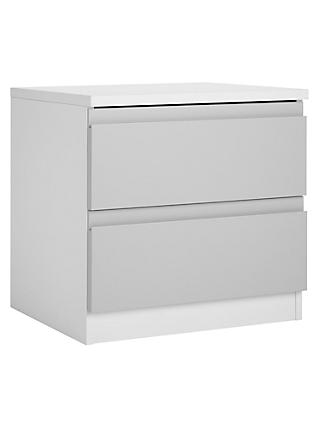 House by John Lewis Mix it 2 Drawer Bedside Chest, House Smoke/Matt White