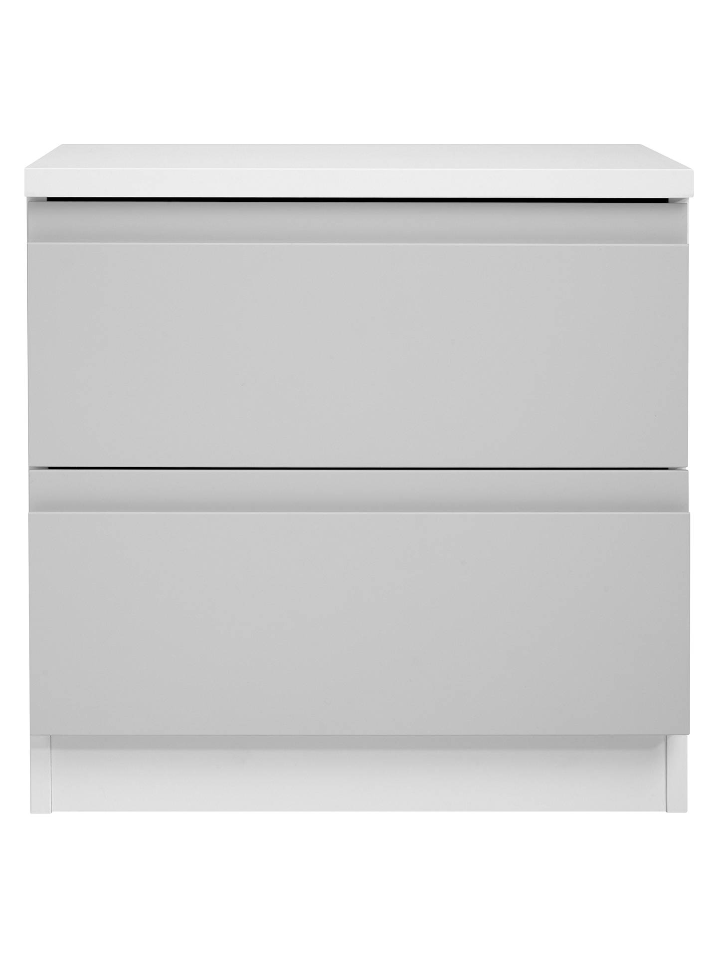 BuyHouse by John Lewis Mix it 2 Drawer Bedside Chest, House Smoke/Matt White Online at johnlewis.com