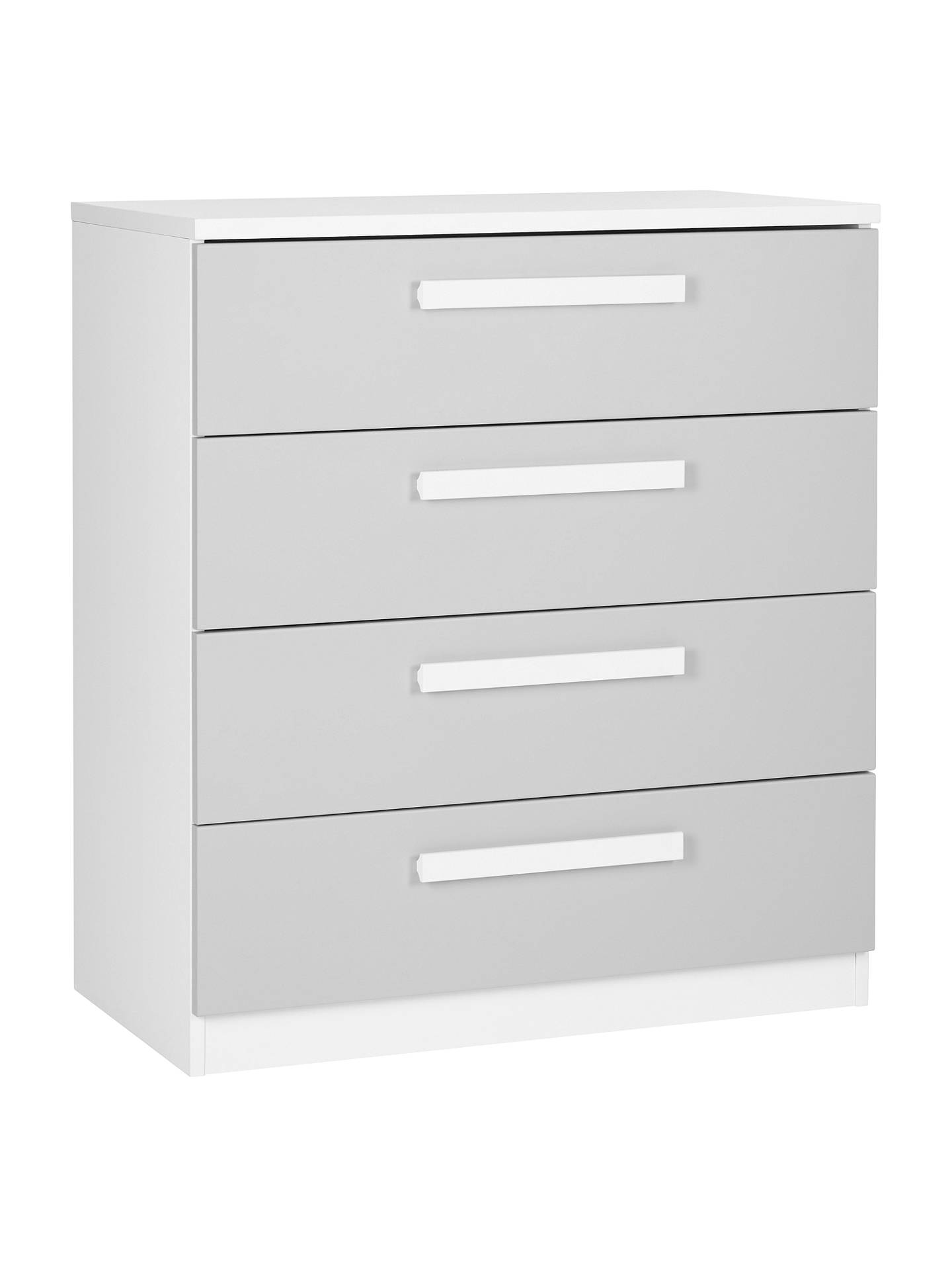 BuyHouse by John Lewis Mix it Block Handle Wide 4 Drawer Chest, House Smoke/Matt White Online at johnlewis.com