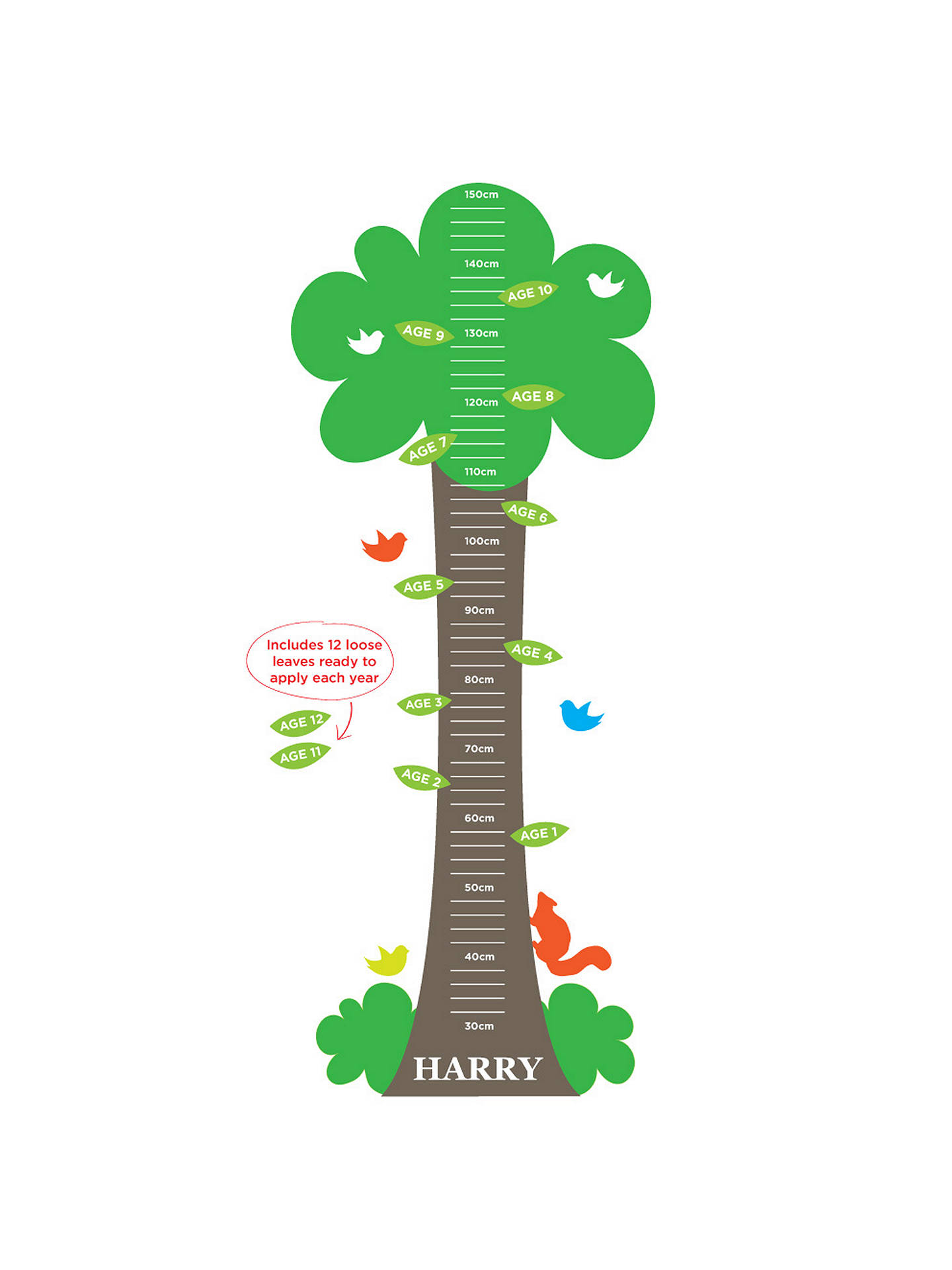 Buy Megan Claire Tree Height Chart Wall Sticker Online at johnlewis.com