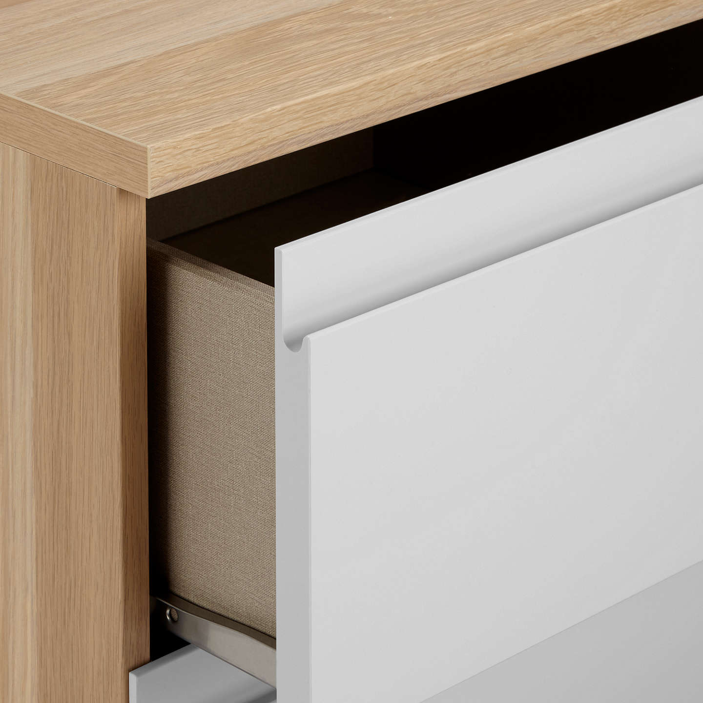 BuyHouse by John Lewis Mix it 2 Drawer Bedside Chest, House Smoke/Natural Oak Online at johnlewis.com