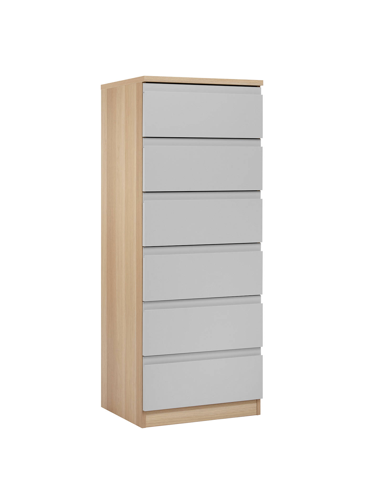 BuyHouse by John Lewis Mix it Narrow 6 Drawer Chest, House Smoke/Natural Oak Online at johnlewis.com