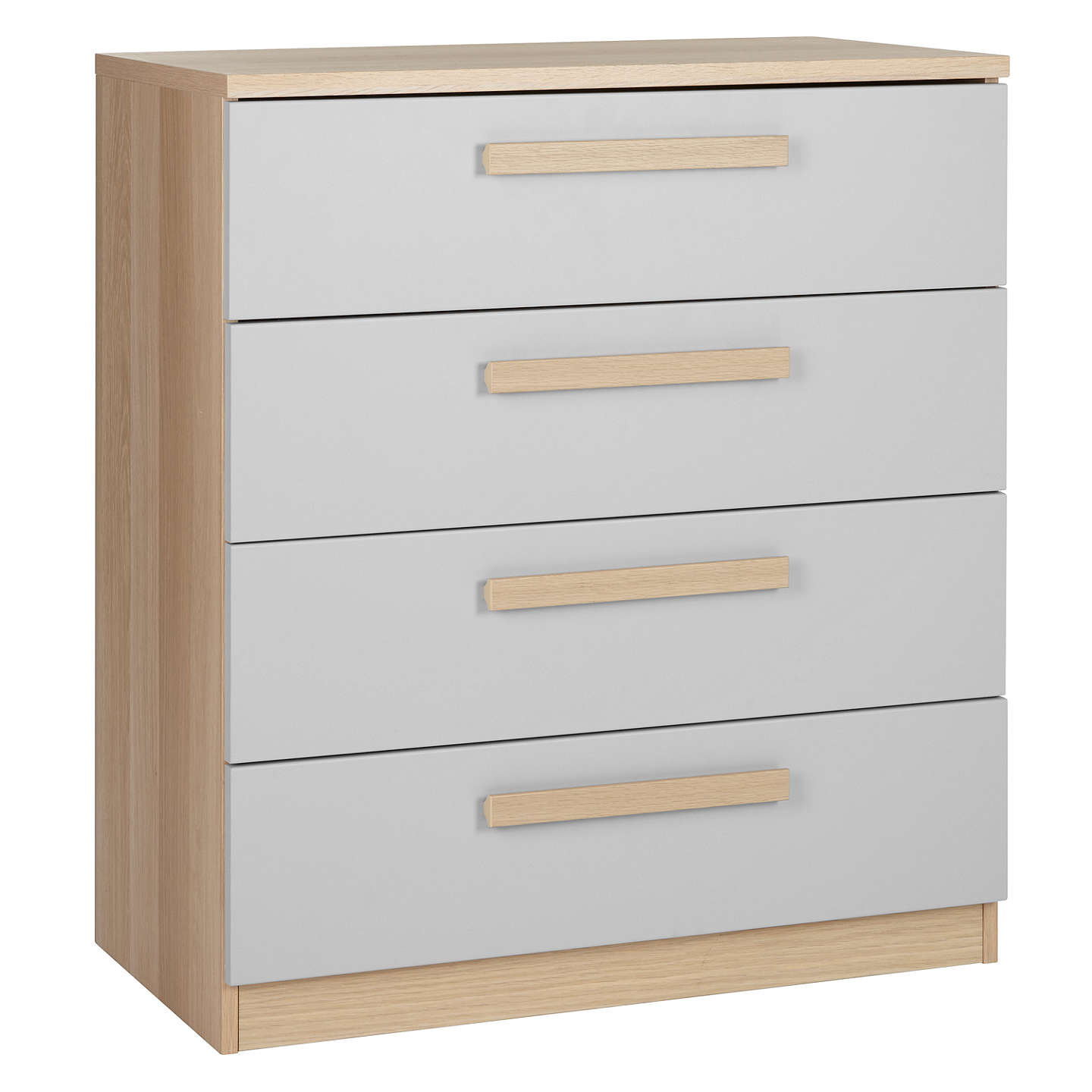 BuyHouse by John Lewis Mix it Block Handle Wide 4 Drawer Chest, House Smoke/Natural Oak Online at johnlewis.com