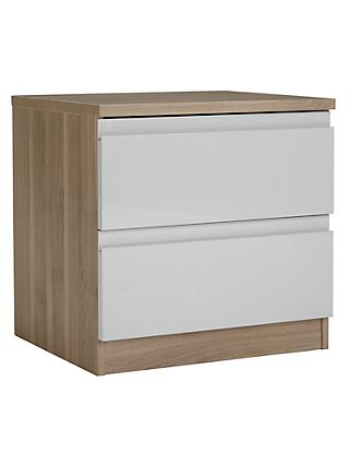 House by John Lewis Mix it 2 Drawer Bedside Chest, House Smoke/Grey Ash