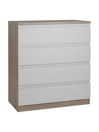 House by John Lewis Mix it Wide 4 Drawer Chest, House Smoke/Grey Ash