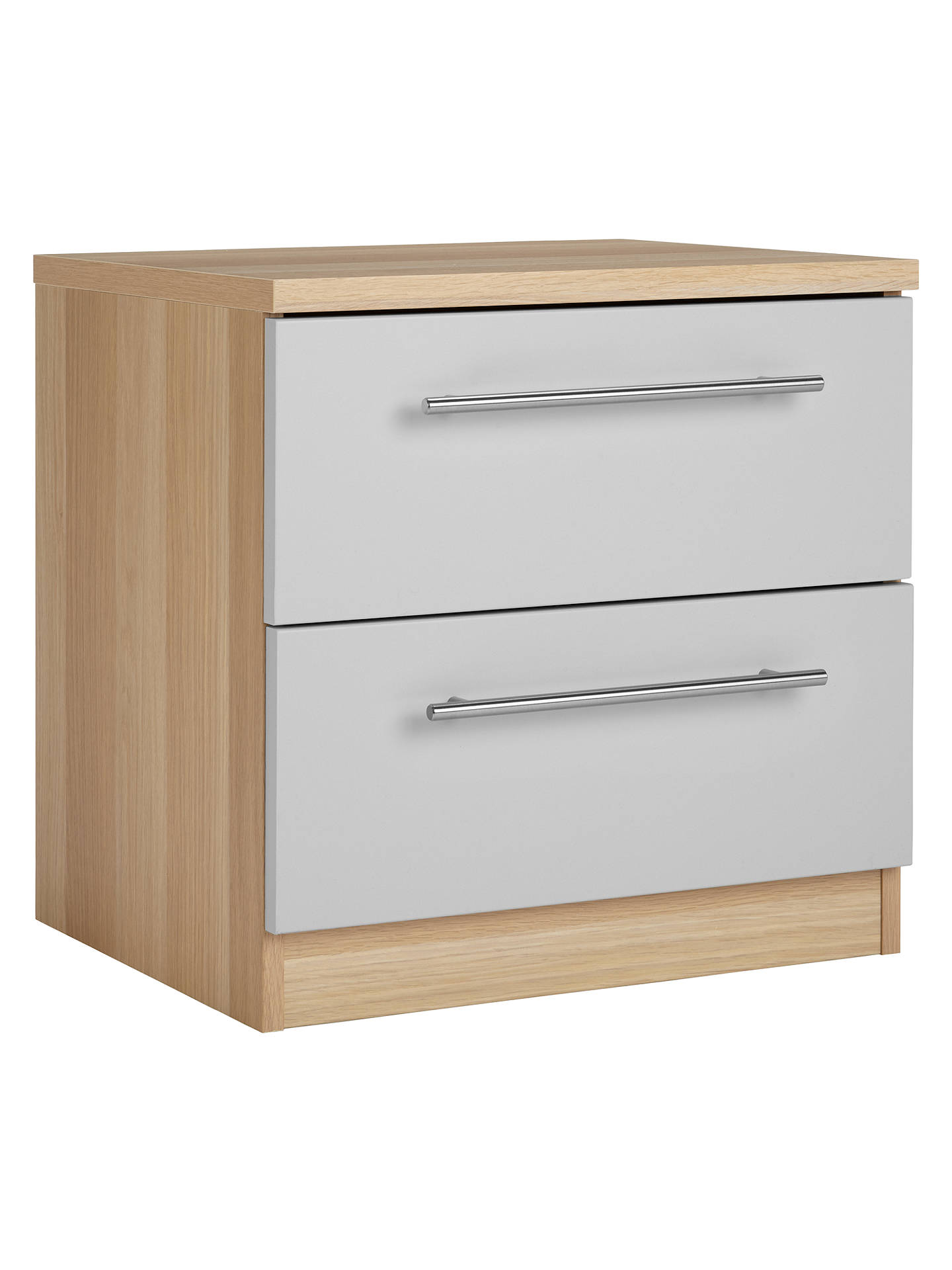 BuyHouse by John Lewis Mix it T-Bar Handle Bedside Chest, House Smoke/Natural Oak Online at johnlewis.com