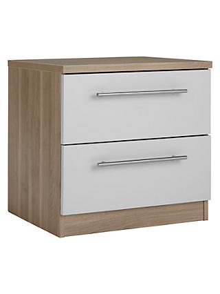 House by John Lewis Mix it T-Bar Handle Bedside Chest, House Smoke/Grey Ash