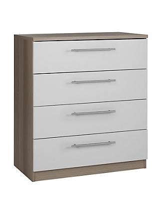 House by John Lewis Mix it T-Bar Handle Wide 4 Drawer Chest, House Smoke/Grey Ash