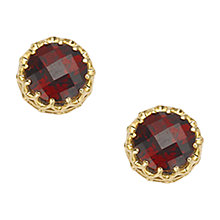 Buy London Road 9ct Gold Crown Set Stud Earrings, Garnet Online at johnlewis.com