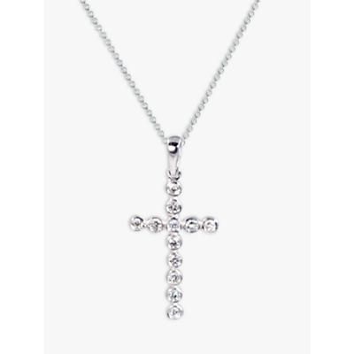 Product photo of Ewa 9ct white gold diamond cross pendant necklace white gold