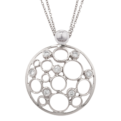 Product photo of London road 9ct white gold diamond bubble pendant white gold
