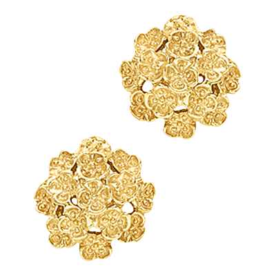 London Road 9ct Yellow Gold Domed Posy Stud Earrings, Gold