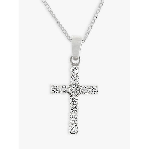 Buy Nina B Sterling Silver Cross Cubic Zirconia Pendant Online at johnlewis.com